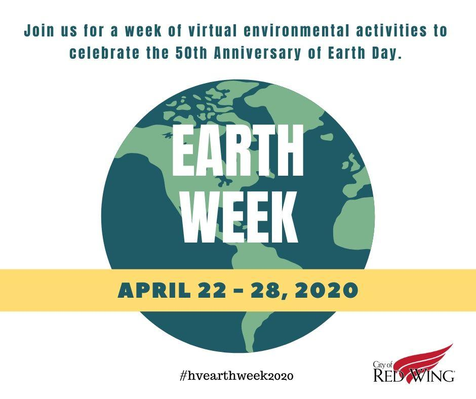 Image of the Earth with a yellow banner and an invitation to join Earth Week 2020