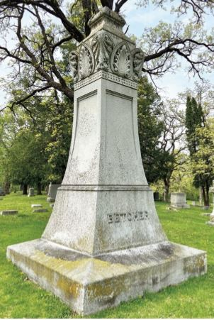 Photo of the Betcher grave marker at Oakwood Cemetery