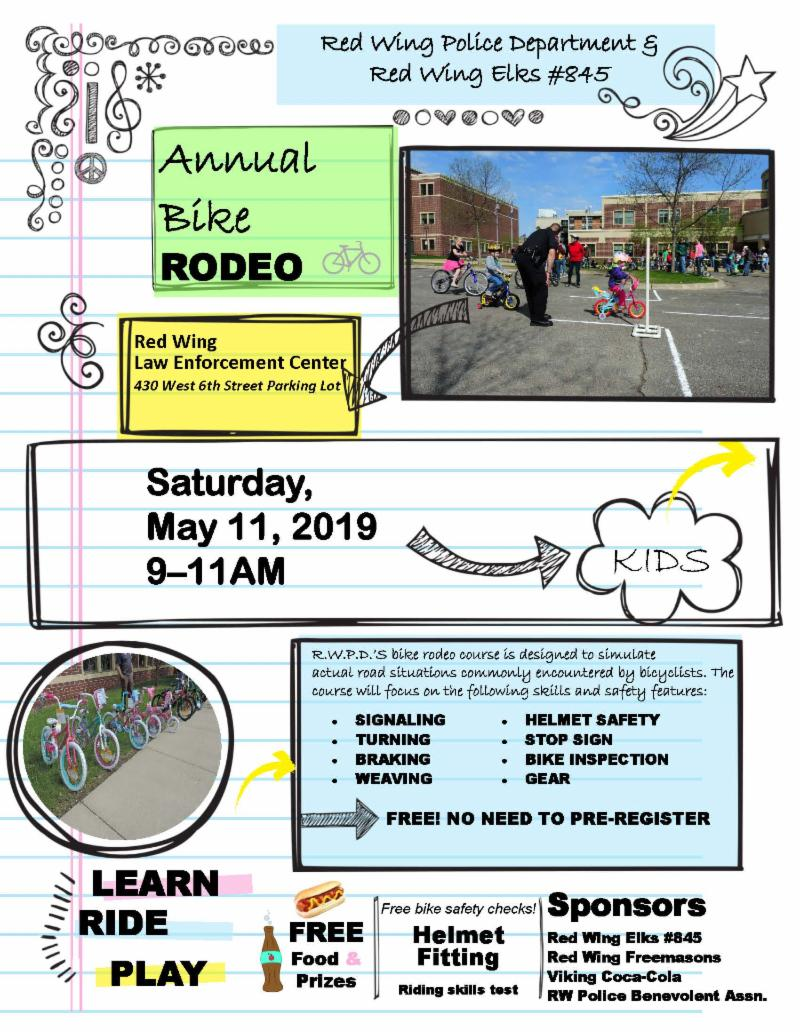 2019 Bike Rodeo flyer detailing new date May 11 9 to 11 am