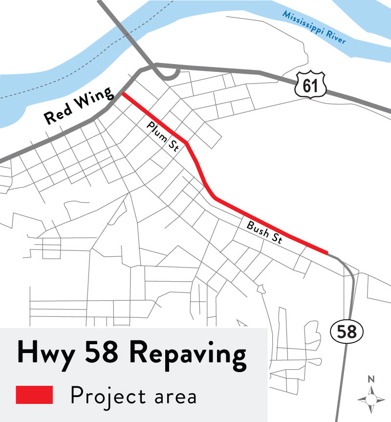 Map image of highway 58 repaving project area