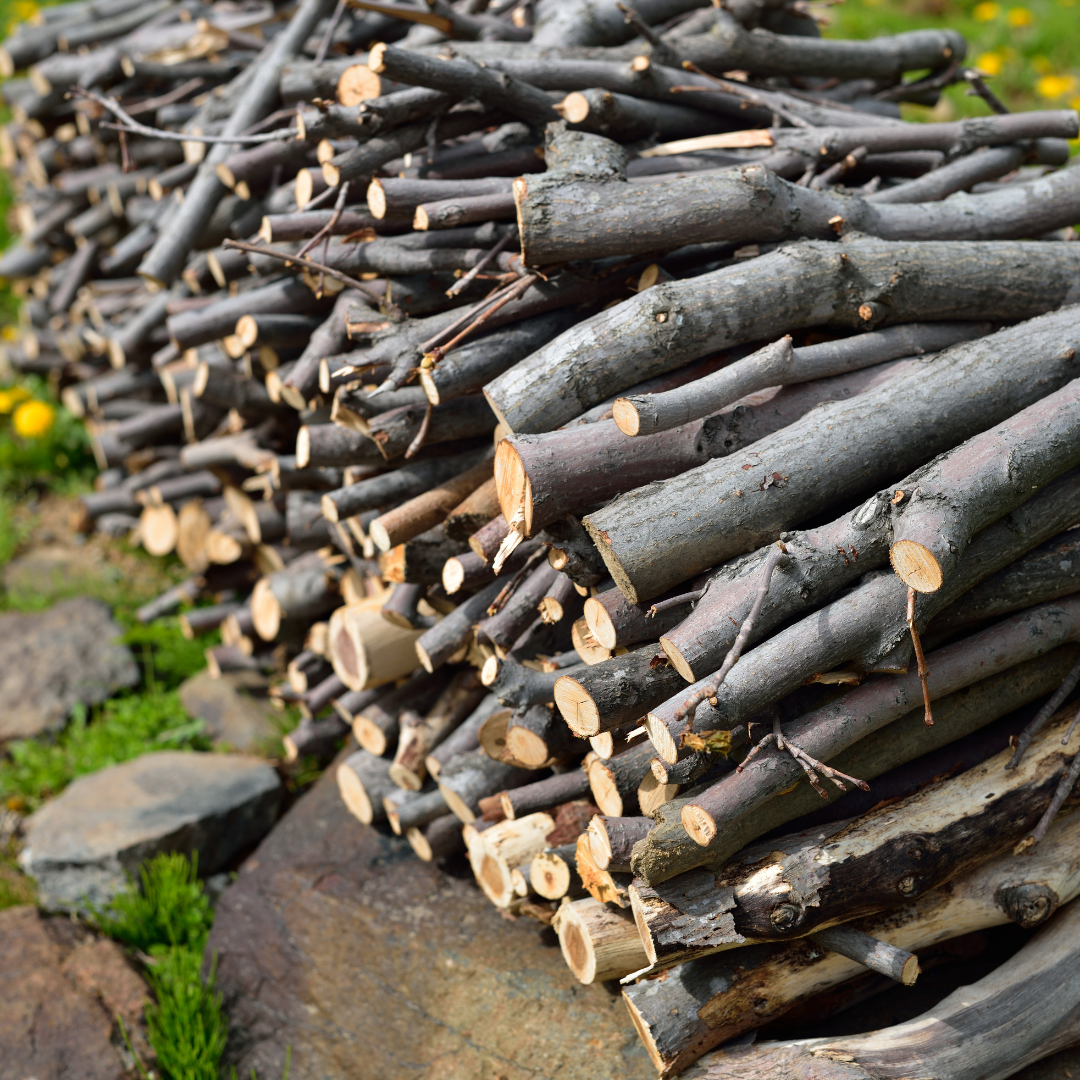 Image of cut and stacked branches in a neat pile
