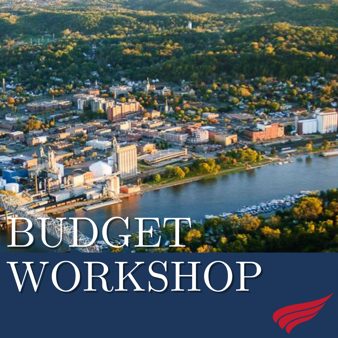 Aerial photo of Red Wing with the words Budget Workshop and wing logo