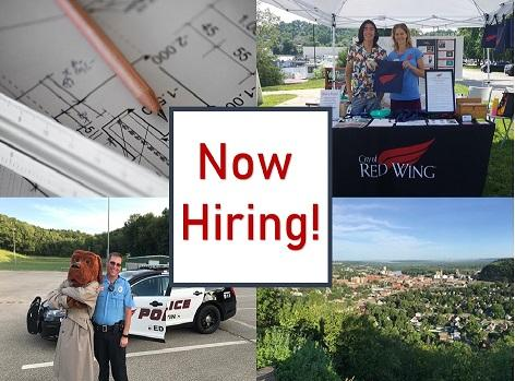 Collage of Red Wing photos with the text Now Hiring! in the center