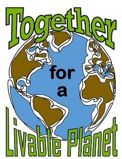 Image of Earth with the words Together for a Livable Planet