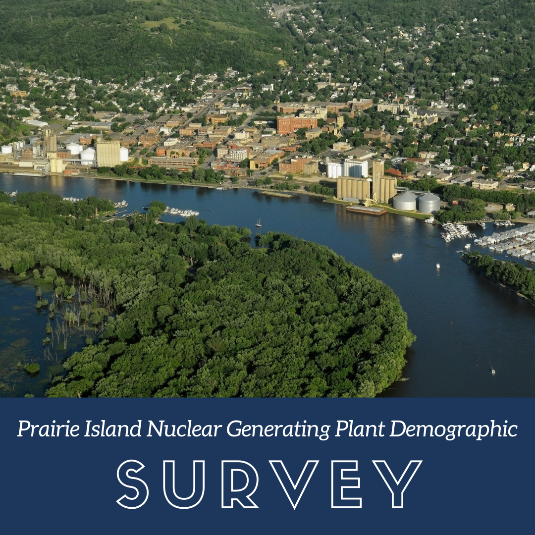 Aerial photo of downtown Red Wing above the words Prairie Island Nuclear Generating Plant Demographic Survey