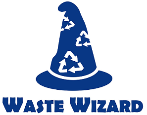Image of blue pointy hat with white recycling symbols above the blue words Waste Wizard