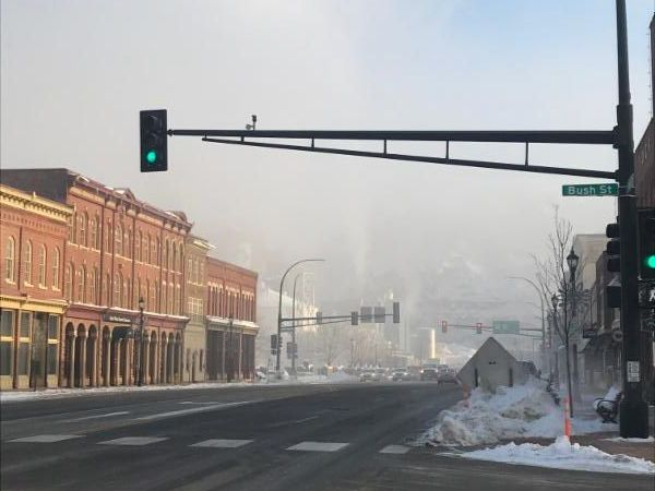 Image of Red Wing's Main Street in the morning with fog