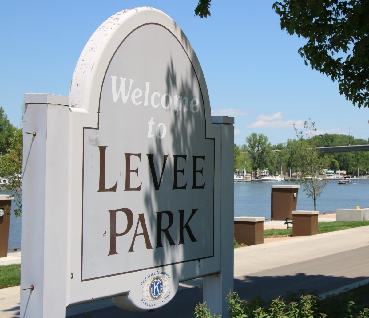 Entrance sign to Levee Park