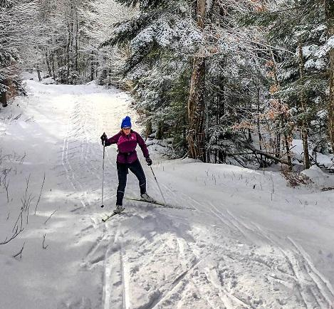 Photo of a person cross country skiing in winter