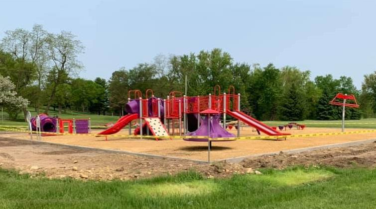 Photo of the newly completed playground at Sunnyside Elementary in the summer