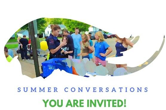 Stylized image of police officers interacting with citizens above the words Summer Conversations You Are Invited!