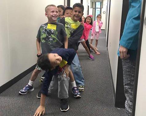 Hendrix students playing the spine game