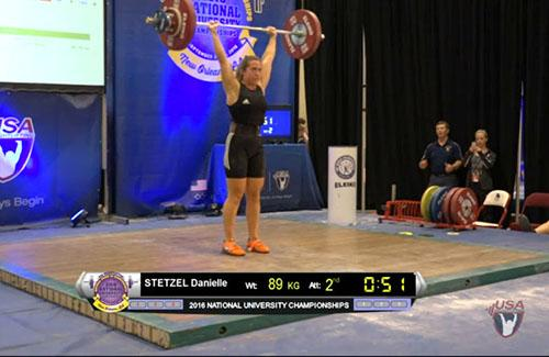 Danielle Stetzel at weightlifting competition