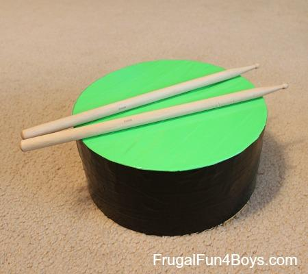 Duct tape drum and drumsticks
