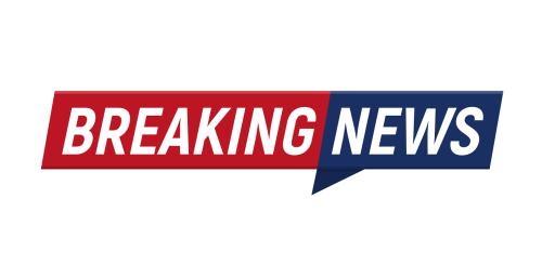 Breaking news minimalistic logo on white background. Entertaining show with news. Illustration