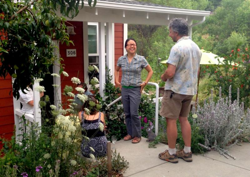 Nevada City Cohousing - talking with a neighbor
