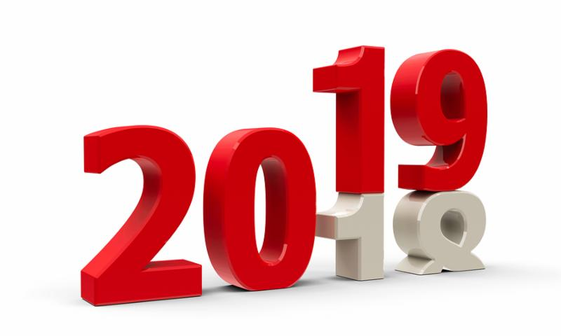 2018-2019 change represents the new year 2019_ three-dimensional rendering_ 3D illustration