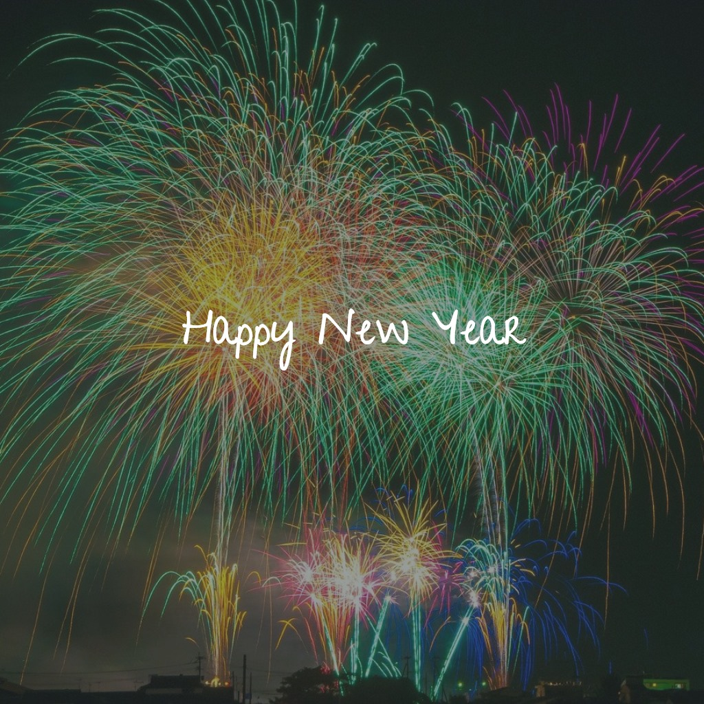 fireworks with happy new year written across the image