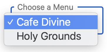 Choose a menu on Curbside