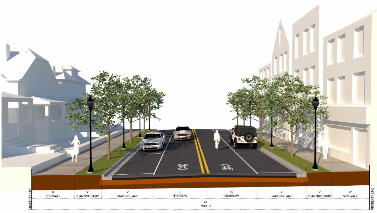 E 131st Avenue Preliminary Land Use and Transportation Study neighborhood cross section
