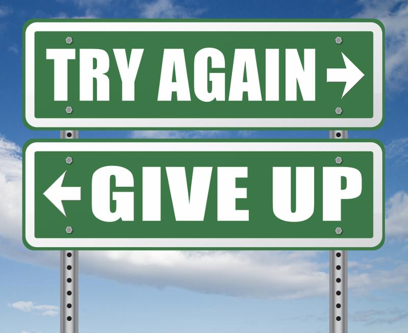 try again give up keep going and trying self belief never stop believing in yourself road sign dont be a quitter persistence and determination  3D_ illustration