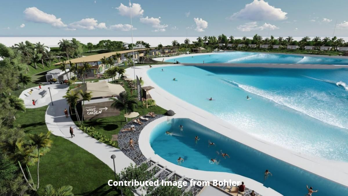 CONTRIBUTE IMAGE FROM BOHLER. Visualization of dinning outside WaveGarden at Willow Lakes on W Midway Rd in Ft Pierce - a surfing center. Source: TCPALM