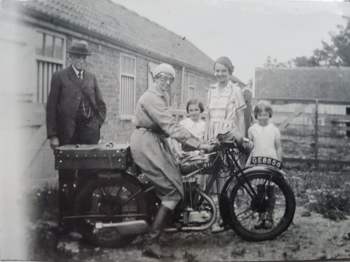 Verena Holmes on motorbike