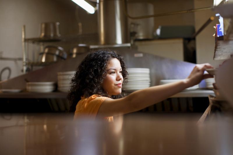 Waitress working