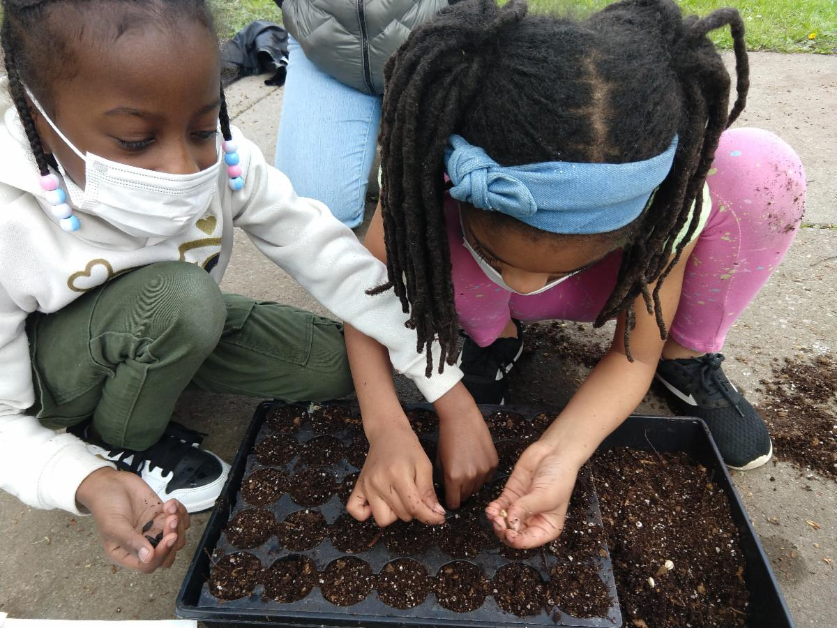 Two children plant seeds together.