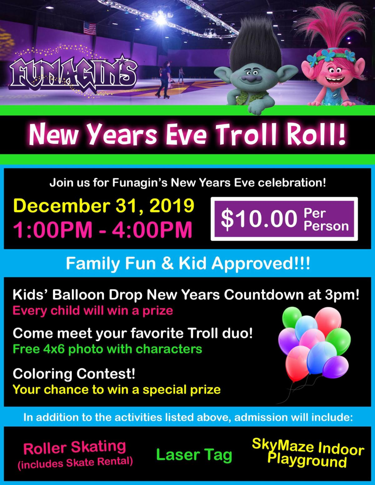 Troll Roll on New Year's Eve at Funagin's in Sylvania