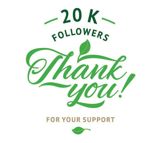 Thank you for your support;  20,000 followers