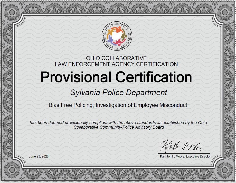 Sylvania Police new certification
