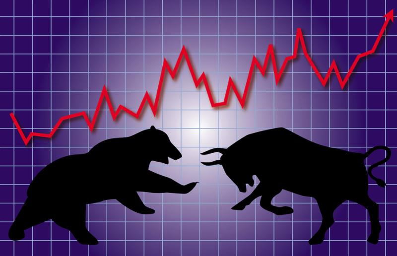 graphic illustration of stock market bull and bear concept