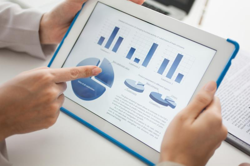 Close-up of a touchscreen with financial data in form of charts and diagrams
