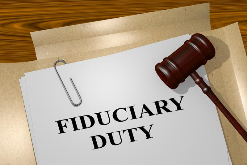 3D illustration of  FIDUCIARY DUTY  title on legal document