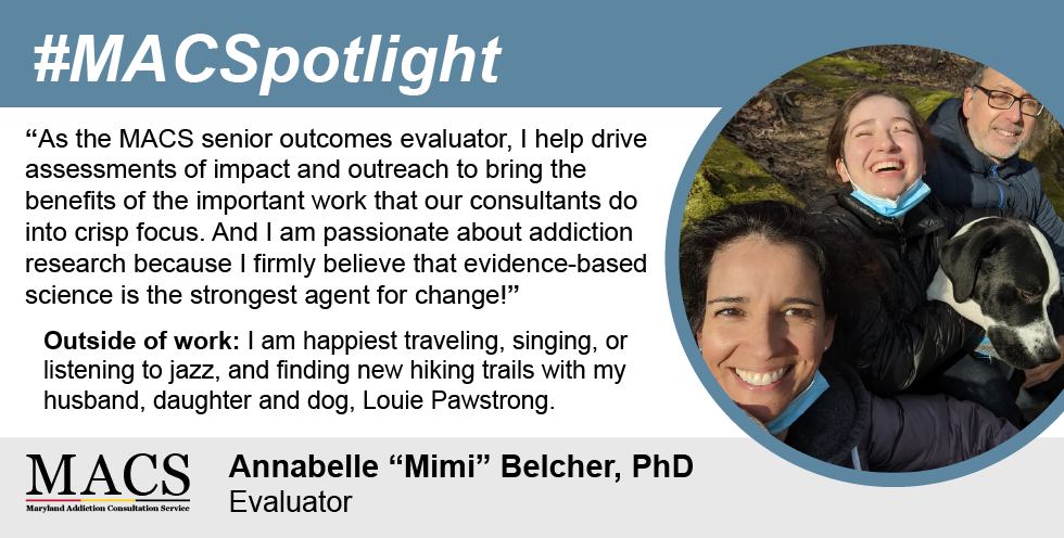 spotlight featuring photo of mimi and her daughter and husband smiling with dog