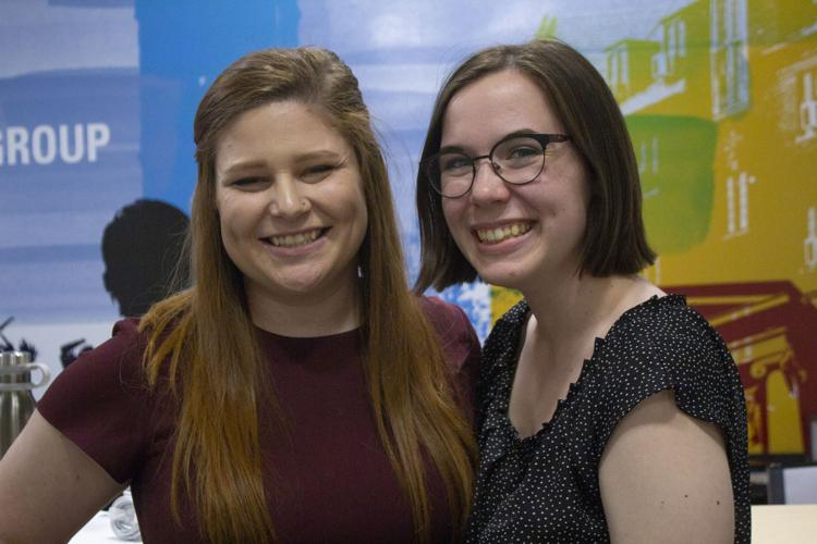 Annelise Wells and Emily Berch at the Iowa State Daily offices