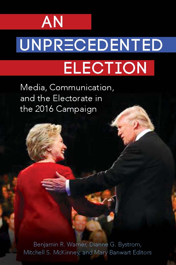 book cover of _An Unprecedented Election_ features Hillary Clinton and Donald Trump on the cover