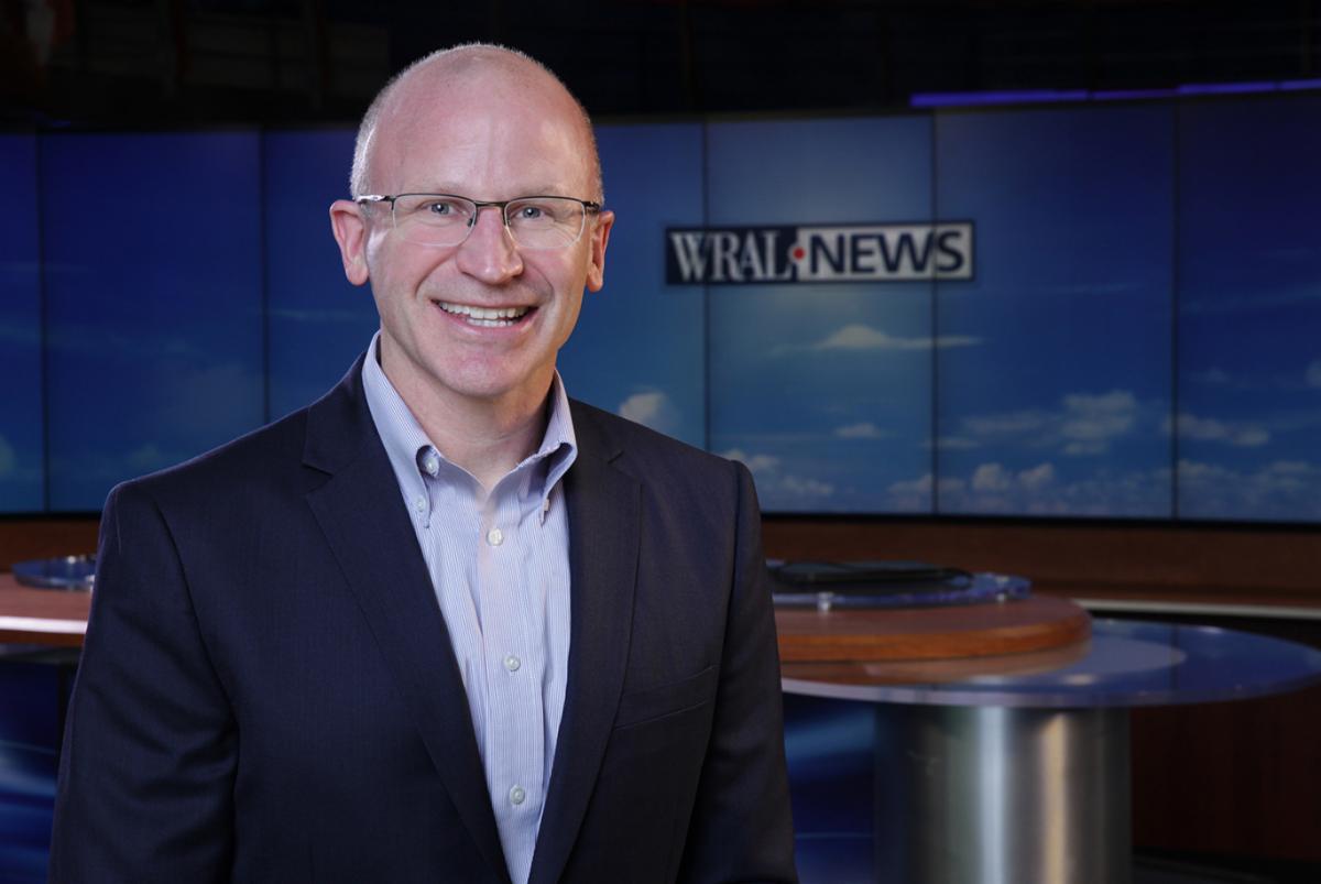 Joel Davis on set at WRAL News