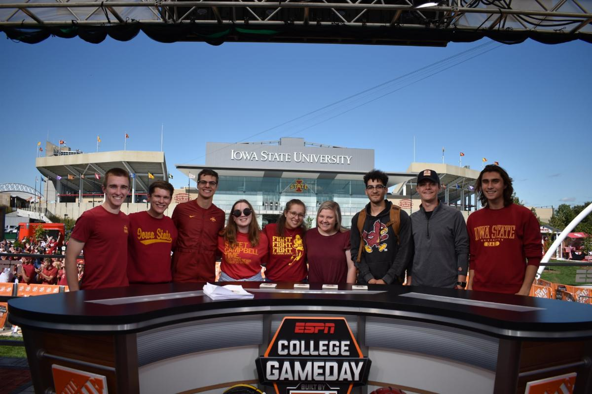 students on College GameDay set