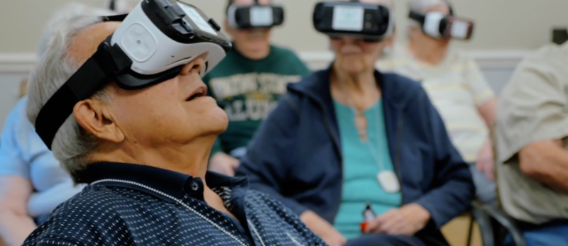Rendever- Senior citizens using virtual reality technology in a group setting.