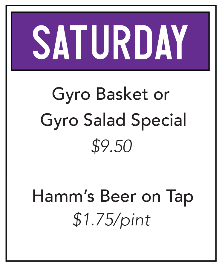 Duck Creek Bar Grill Food Special Saturday