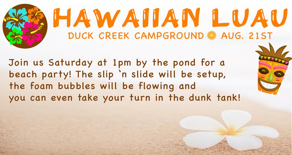 Duck Creek Campground Beach Party Hawaiian Luau