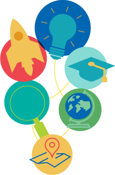 images of a light bulb, graduation cap, globe, rocket, and a looking glass