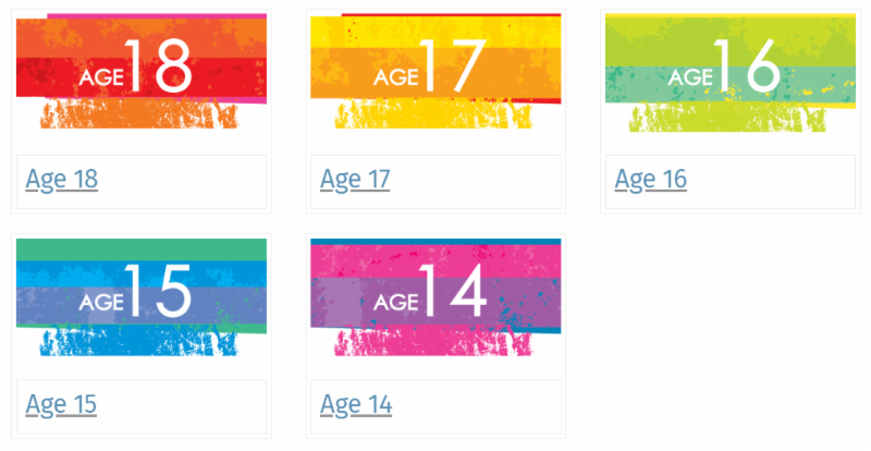 image with different color boxes with age 14- age 18 written inside