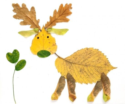 Craft photo of a deer made out of leaves