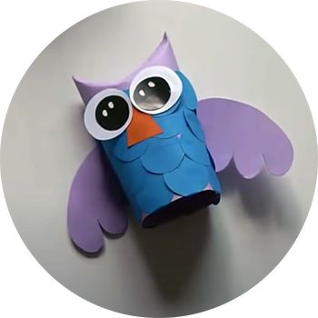 Photo of an owl craft made from Paper.