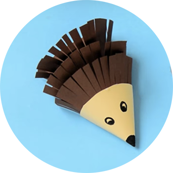 Photo of porcupine craft made out of construction paper.