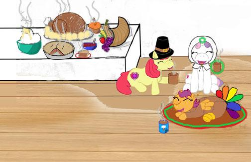 Colorful drawing of a Thanksgiving dinner with ponies as the characters