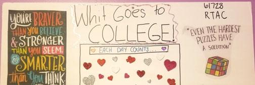 Whit's going to college poster with various motivational things on it